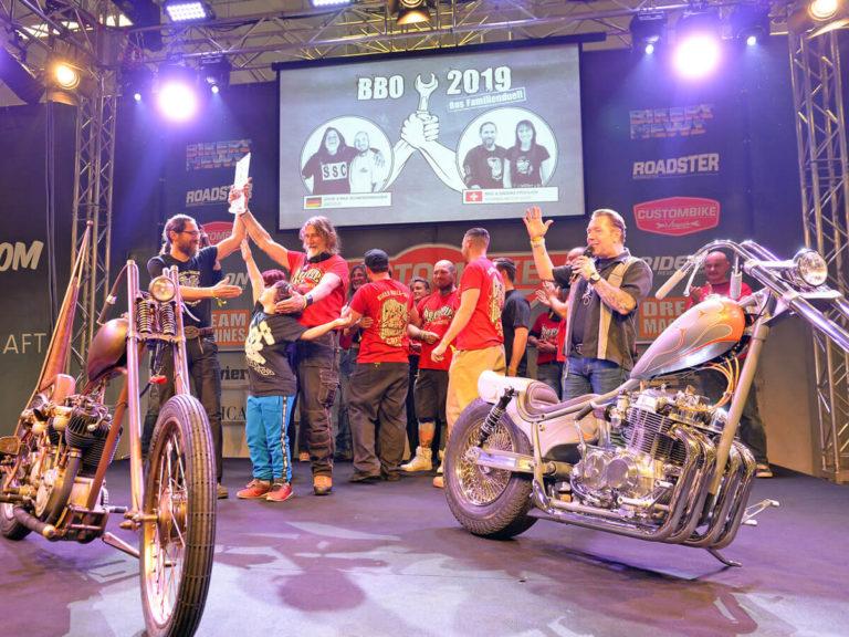 Foto von der Siegerehrung des European Biker Build-Offs 2019