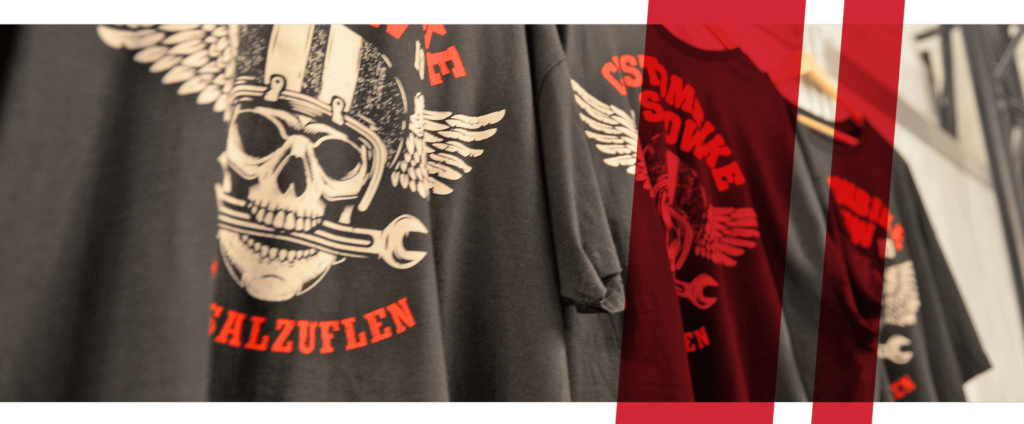 Close up of Custombike-Show merchandise shirts