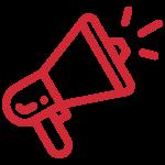 Piktogramm Megafon rot